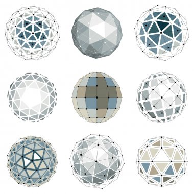 Set of low poly spherical objects