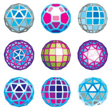 Set of abstract 3d faceted figures