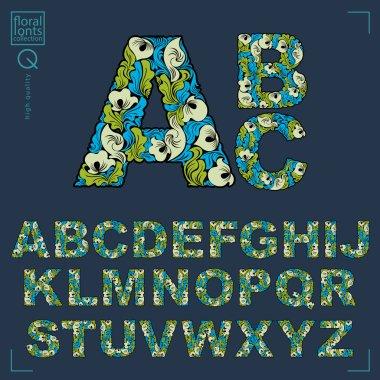 Floral alphabet sans serif letters