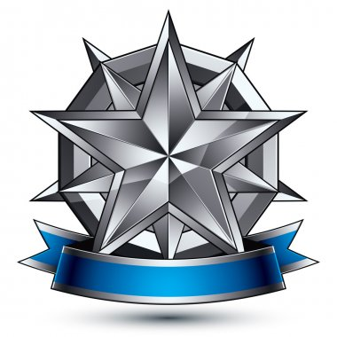 Heraldic template with polygonal silver star