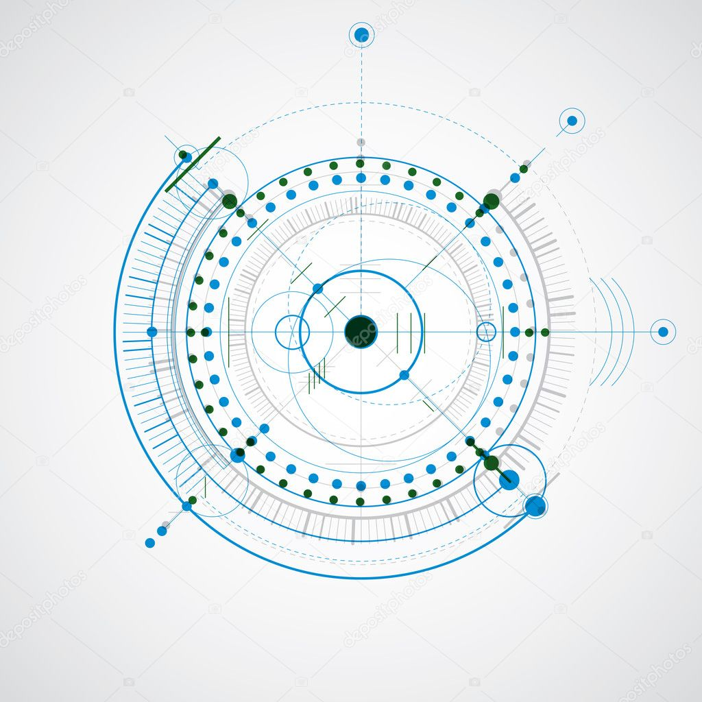 Technical drawing made using dashed lines and geometric circles colorful vector wallpaper created in communications technology style engine design