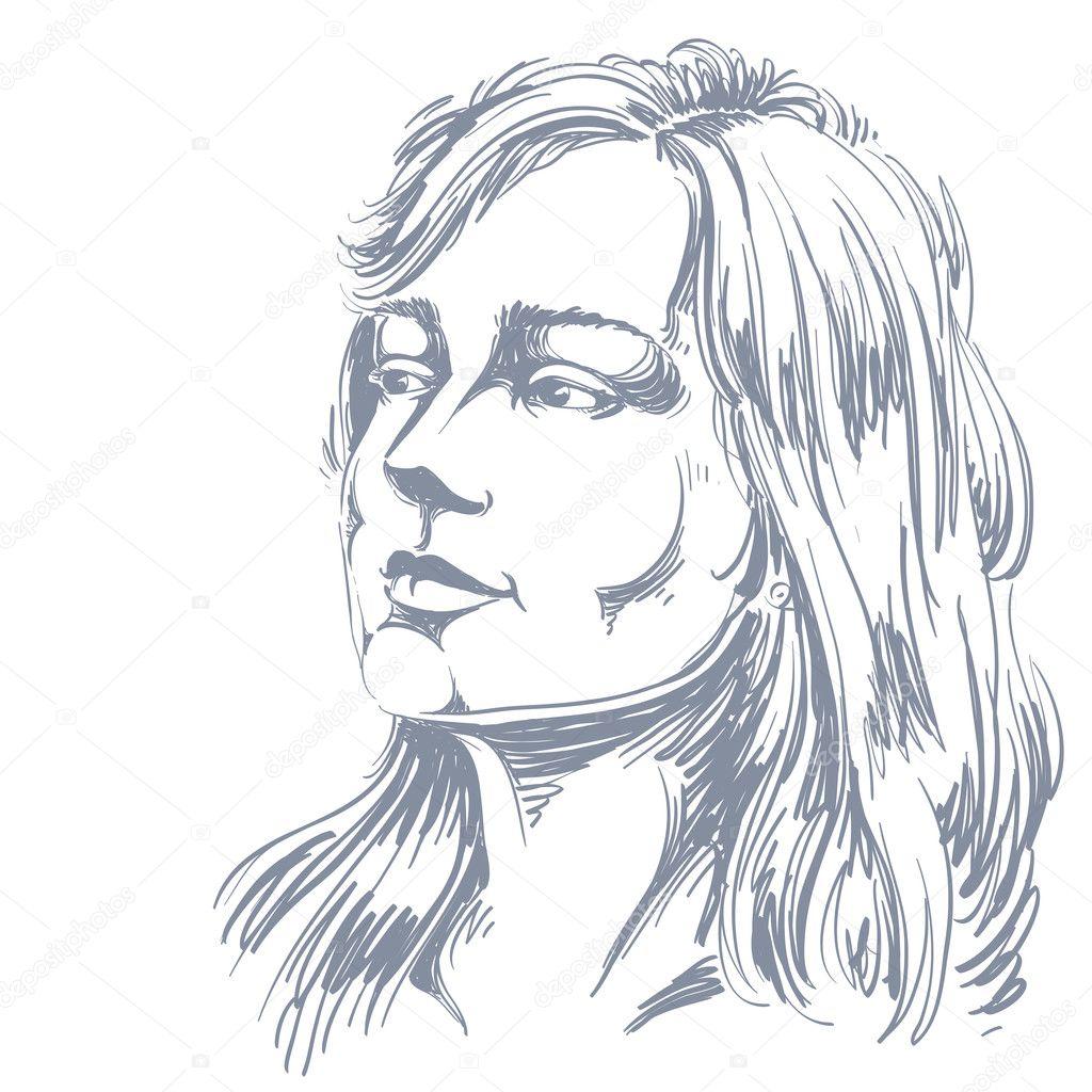 考える魅力的な物思いにふける女 — ストックベクター © ostapius #125722686