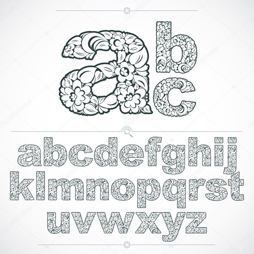 Ecology style flowery font