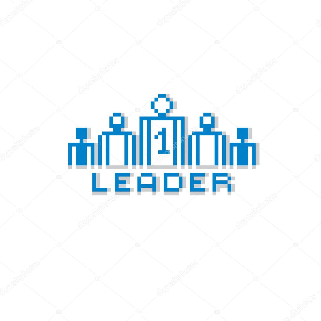 leadership and teamwork theme in pixel style image vectorielle