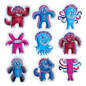 Fotografie Set of cool cartoon monsters