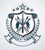 Vintage emblem, heraldic design.