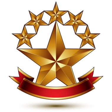Glamorous template with pentagonal golden stars