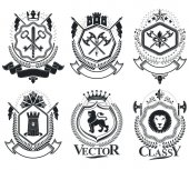 Fotografie retro coat of arms, emblems set