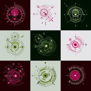 Bauhaus abstract geometric backgrounds set