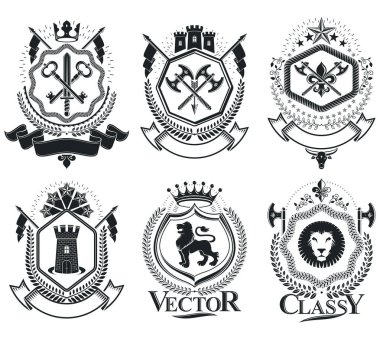 retro coat of arms, emblems set