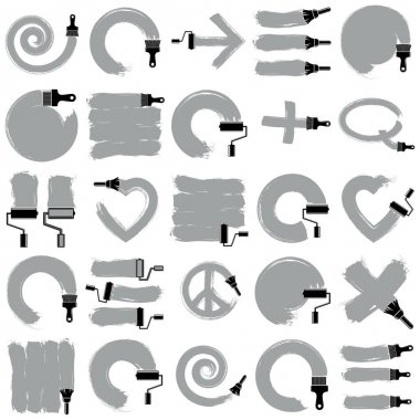 set of painted icons with brush and roller