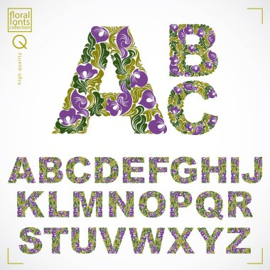 Floral pattern font letters set