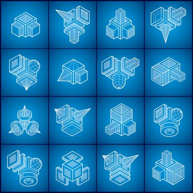 Engineering abstract geometric shapes set