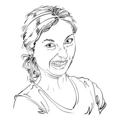 sketch portrait of funny grimace woman