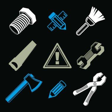 repair tools icons set
