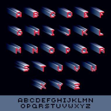pixel abstract font set