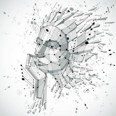 geometric futuristic human head