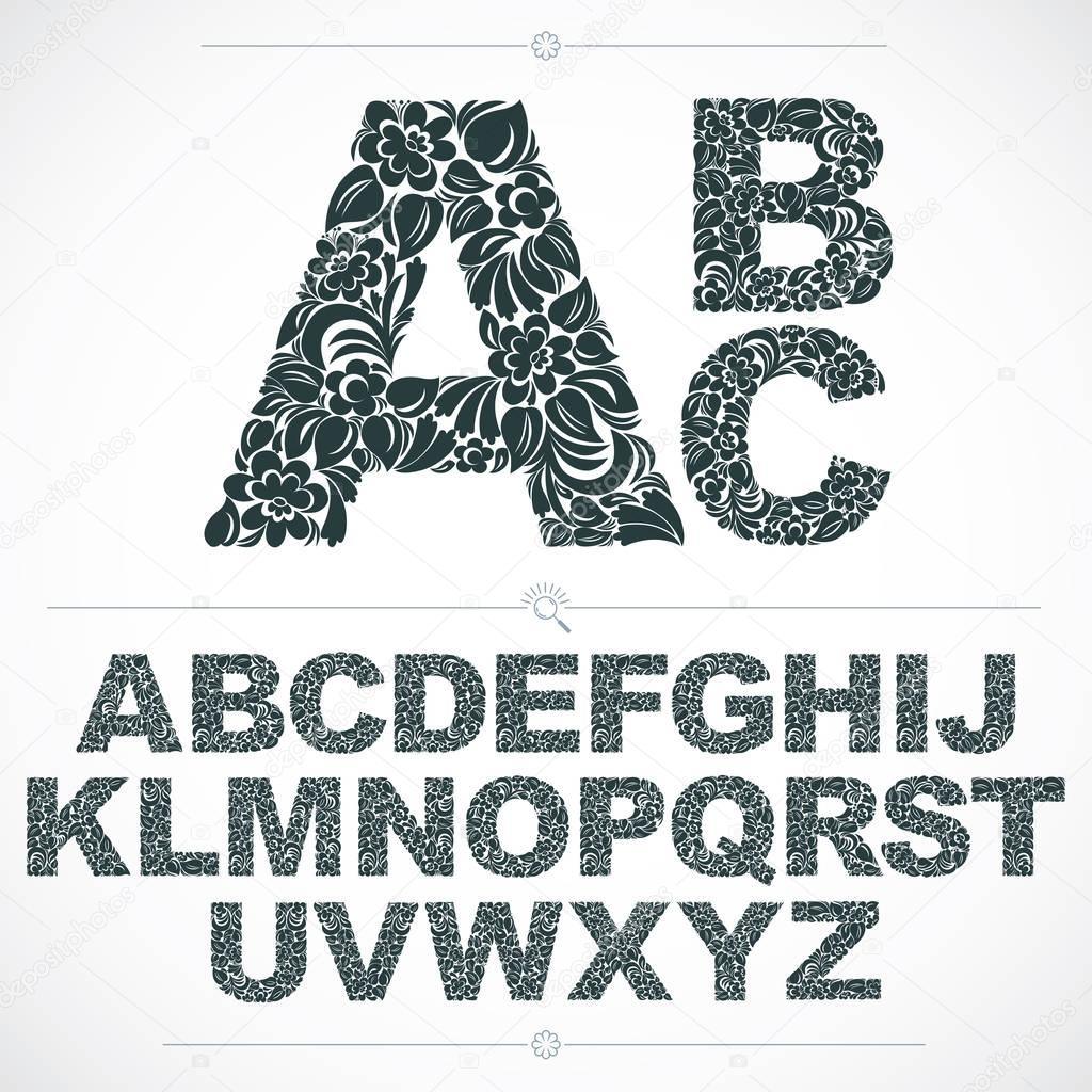 Set of letters font with floral pattern