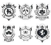 Vintage heraldic emblems set