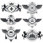 Fotografia Set di emblemi araldici dellannata