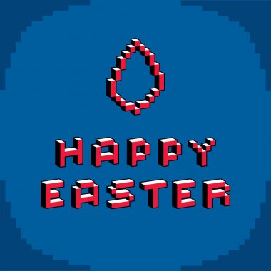 Happy Easter pixel card