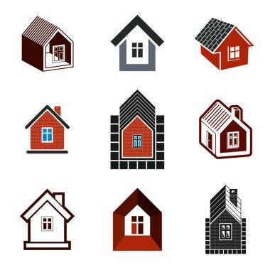 homes, houses logo set