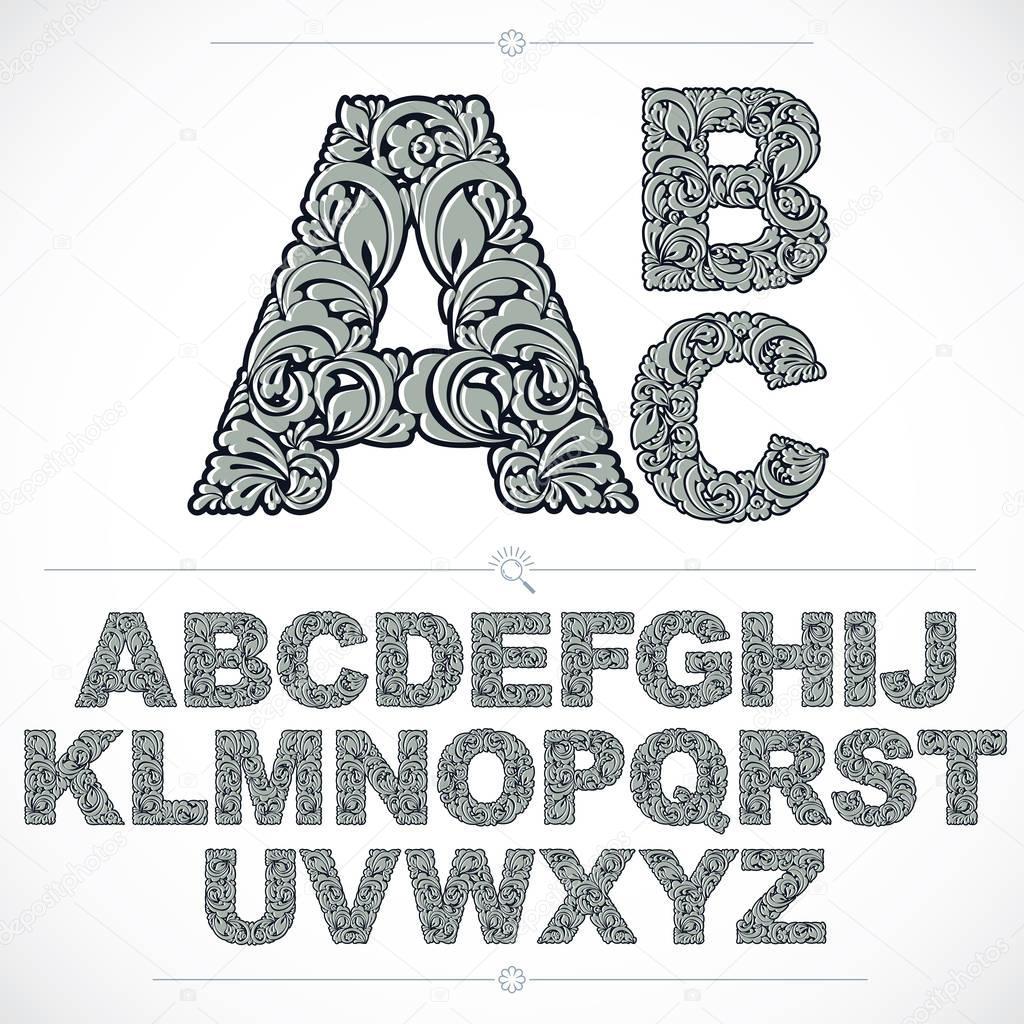 Floral font alphabet letters set
