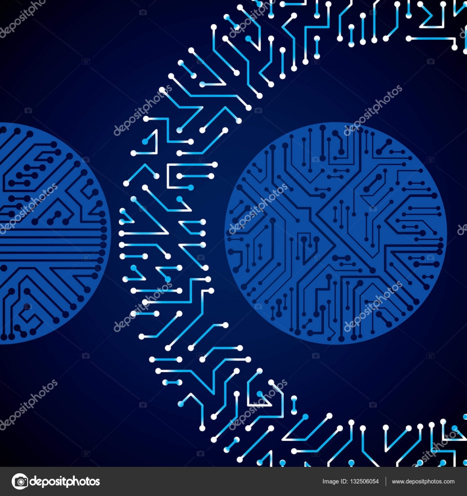 electronic pattern with microchip scheme — Stock Vector © Ostapius ...