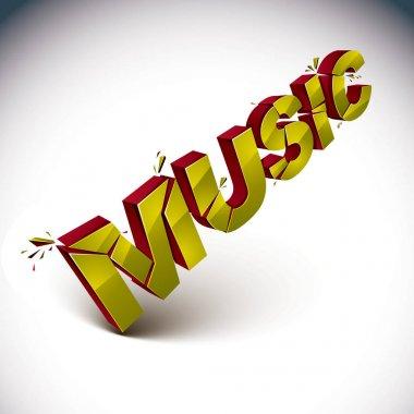 3d music word broken into pieces