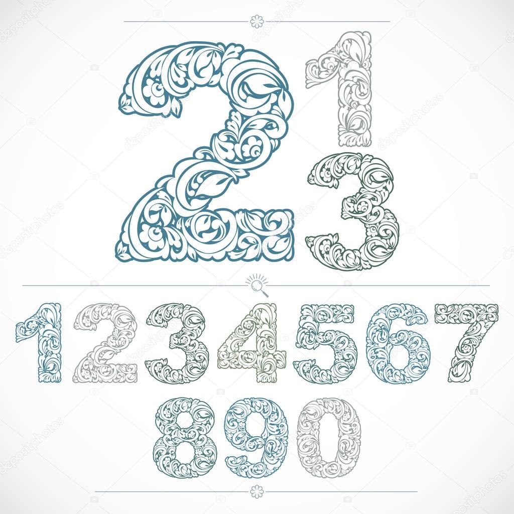 Set of vector ornate numbers