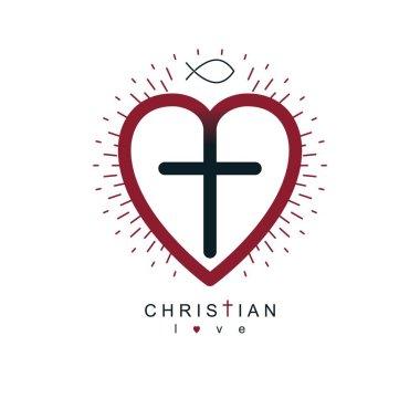 Religious cross simple icon