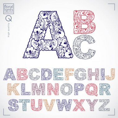 hand-drawn floral font