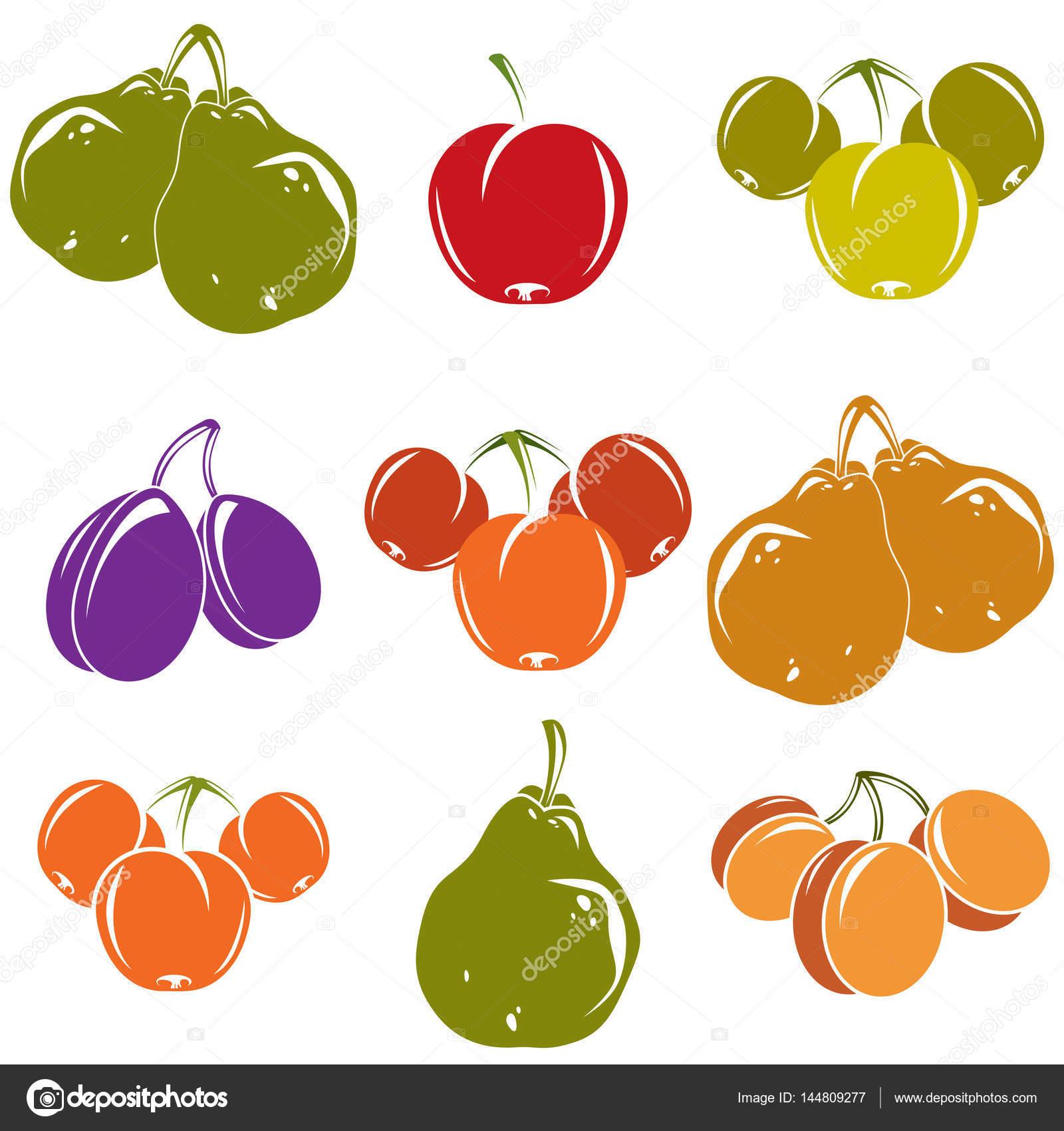簡単な果物アイコン集 ストックベクター Ostapius 144809277