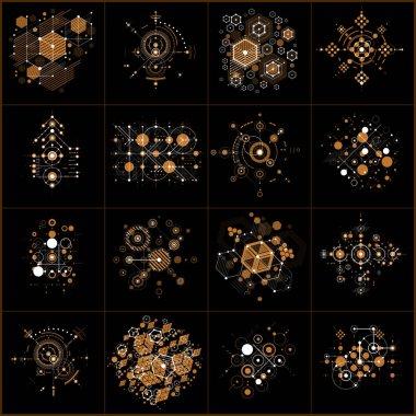 Modular abstract Bauhaus backgrounds set