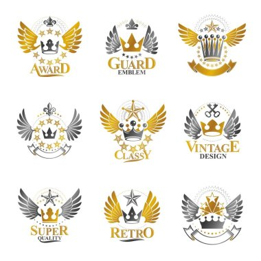Heraldic decorative emblems with royal crowns