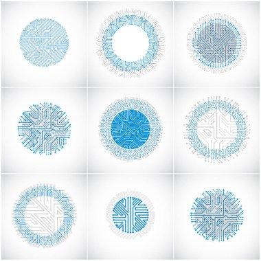 futuristic blue cybernetic schemes