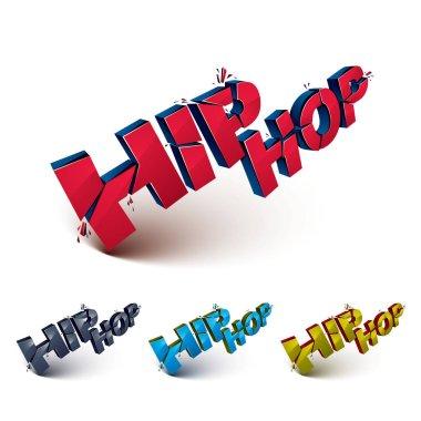 hip hop 3d letterings set