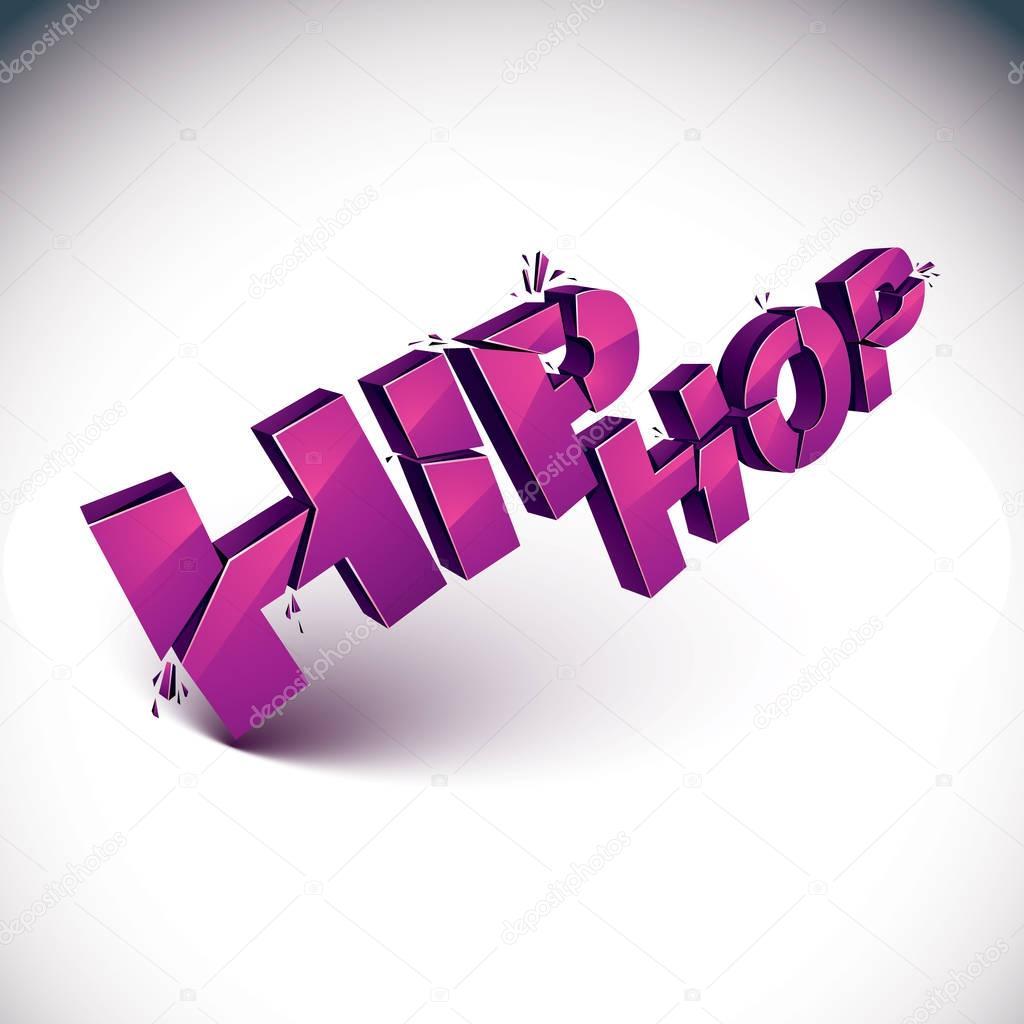 hip hop 3d purple lettering