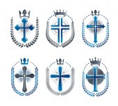 Christian Crosses emblems set
