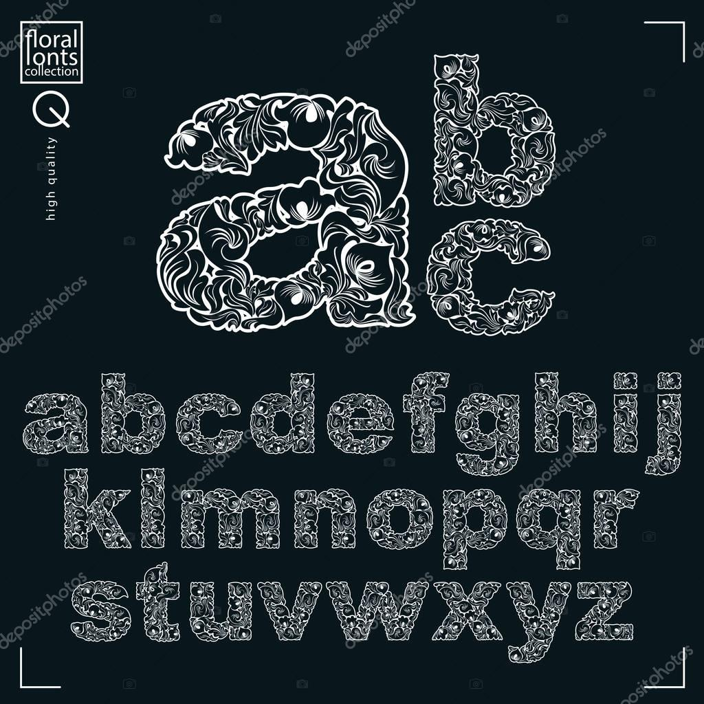 Set of vector ornate lowercase letters