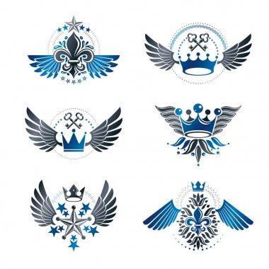 Royal Crowns and Vintage Stars emblems set.