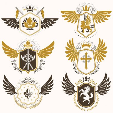 Vintage decorative heraldic emblems