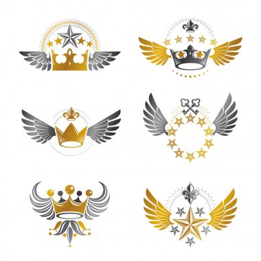 Imperial Crowns and Vintage Stars emblems set.
