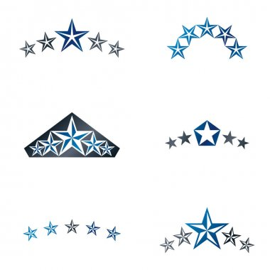 Stars ancient emblems elements set.