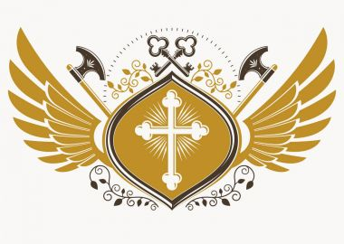 Vintage decorative emblem composition, heraldic vector illustration stock vector