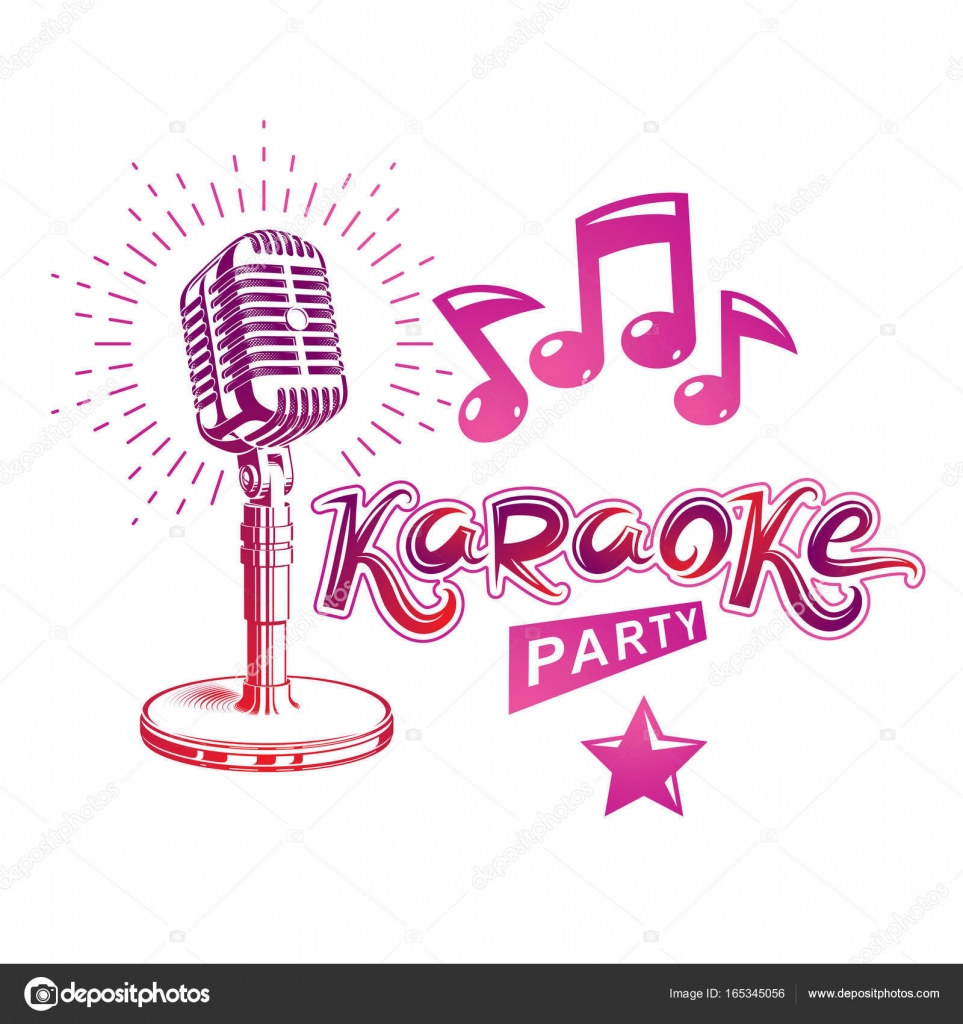 Karaoke party invitation poster, live music vector concert — Stock ...