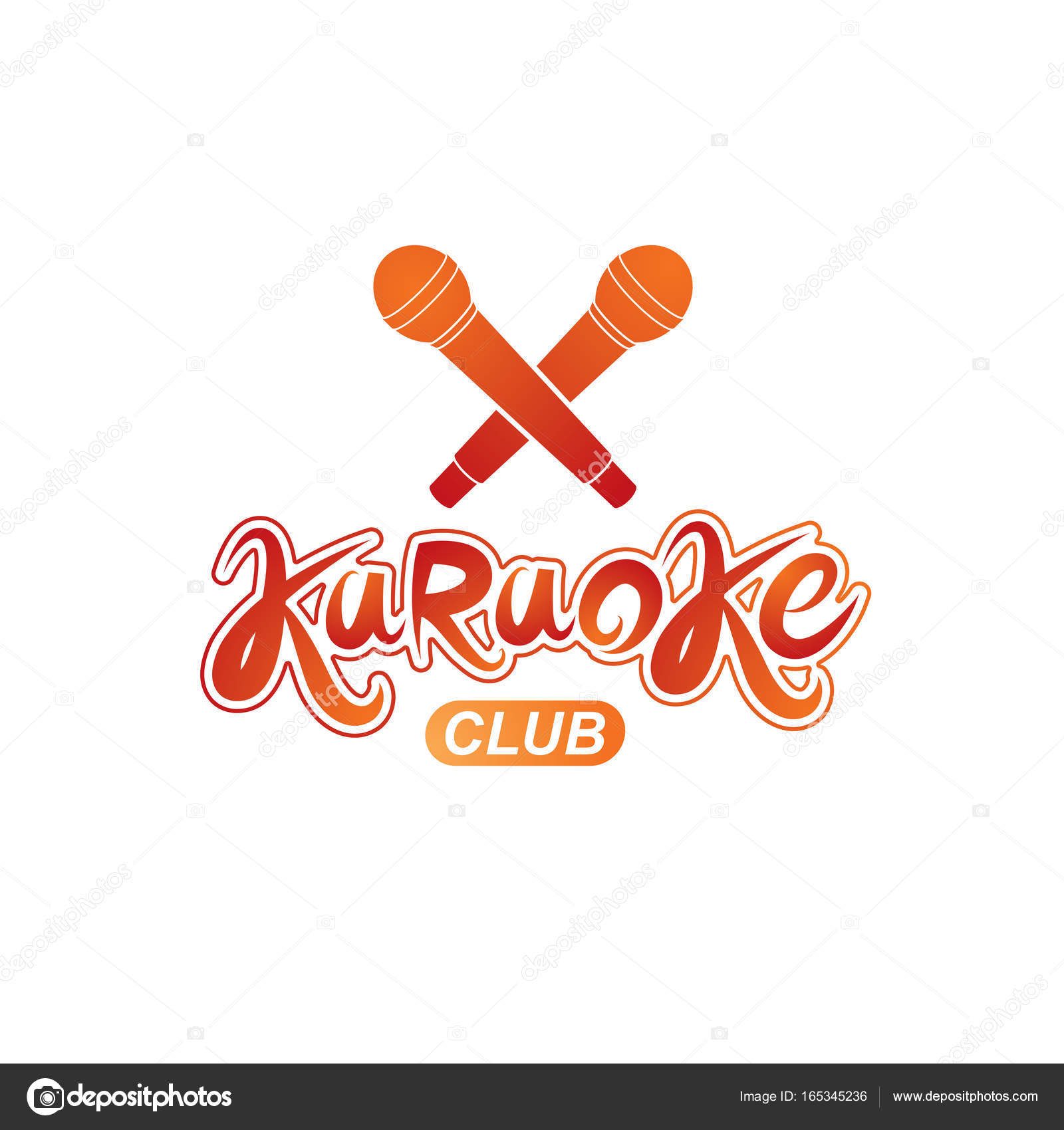 Karaoke club lettering, nightclub party invitation vector emblem ...