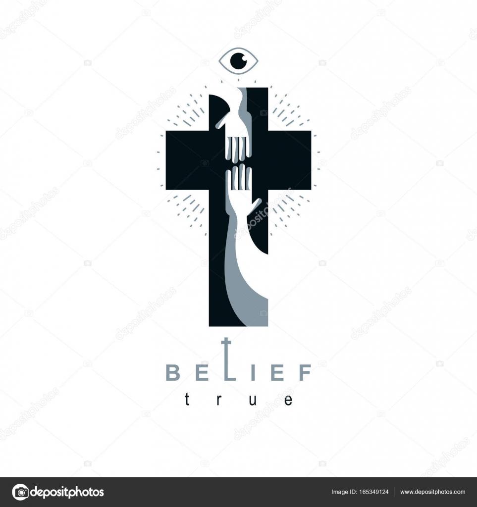 Christianity Cross True Belief In Jesus Vector Symbol Stock Vector