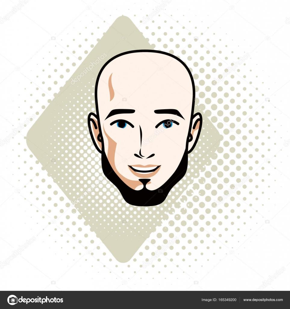 髭のハンサムなハゲ男性顔のベクトル イラスト ストックベクター
