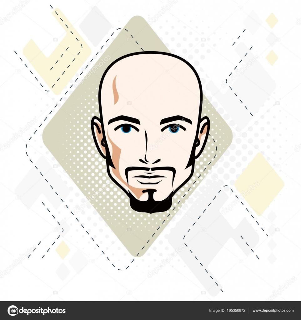 口ひげとハンサムな毛男性顔のベクトル イラスト ストックベクター